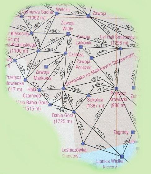 Babia Góra - mapka punktów książeczki GOT
