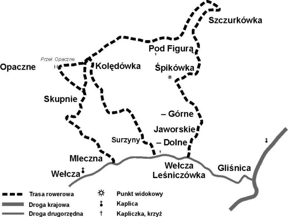 Zawoja - szlak rowerowy czerwony i żółty (mapa)