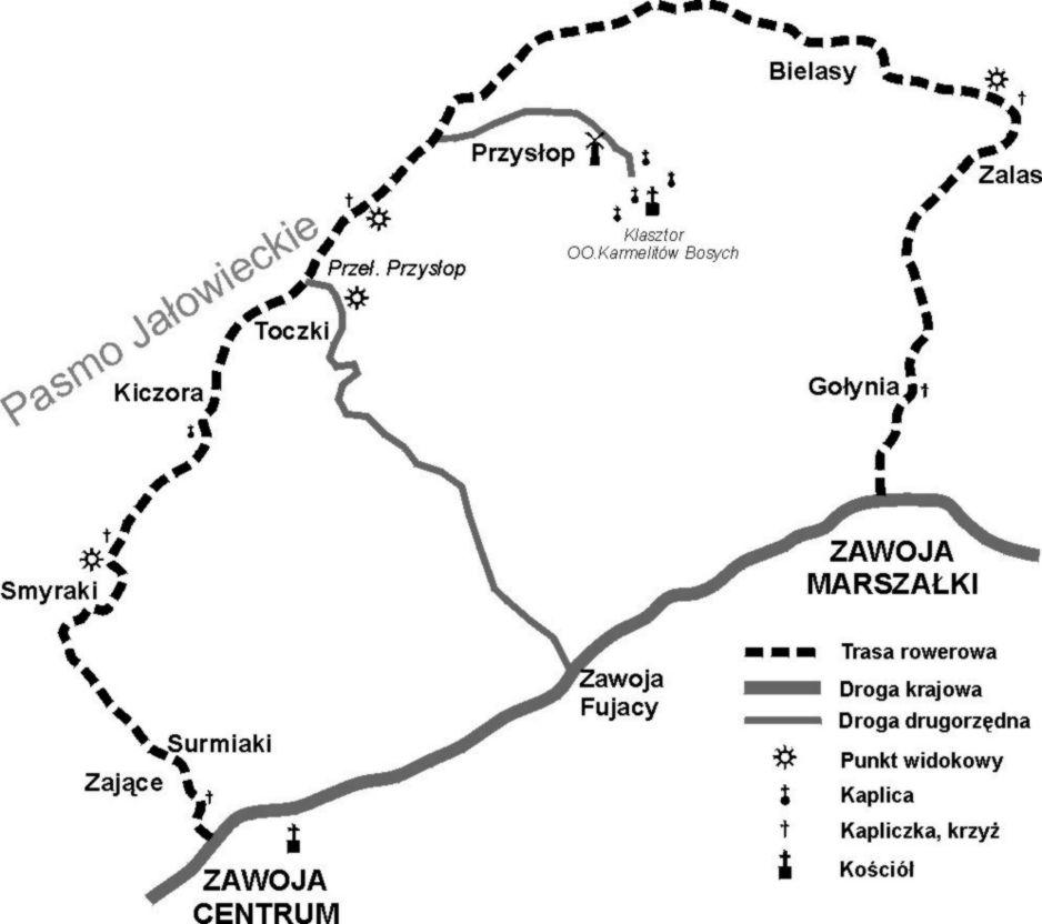 Zawoja - szlak rowerowy niebieski (mapa)