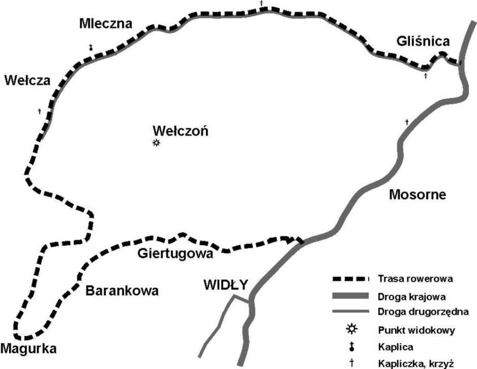 Zawoja - szlak rowerowy zielony (mapa)